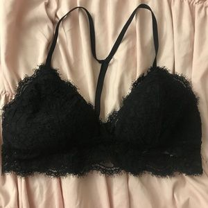 Aerie black lace racer back bra
